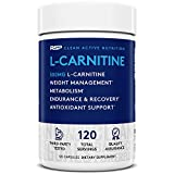 RSP L-Carnitine 500 mg - Stimulant Free L Carnitine, Weight Loss Supplement & Fat Burner for Men & Women, Amino Acid Workout Diet Pills, 120 Caps (Packaging May Vary)