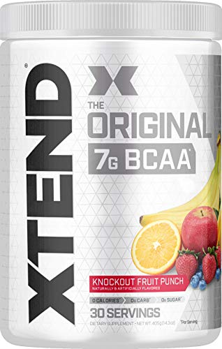 XTEND Original BCAA Powder Knockout Fruit Punch | Sugar Free Post Workout Muscle Recovery Drink with Amino Acids | 7g BCAAs for Men & Women | 30 Servings