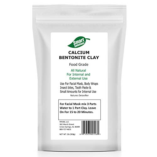 Smart Solutions Calcium Bentonite Clay Food Grade, 2 lb | Natures Detoxifier All Natural for Internal and External Use